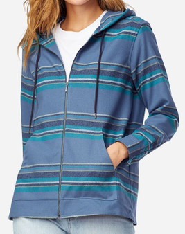 Pendleton Women's Wool Zipped Hoodie in Blue Multi Stripe