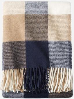 Pendleton Eco-Wise Washable Wool Navy Camel Plaid Throw