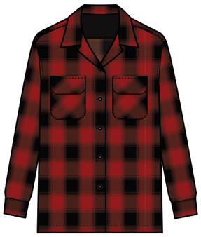 Women's Boyfriend Board Shirt in Red Rock Buffalo Ombre Plaid