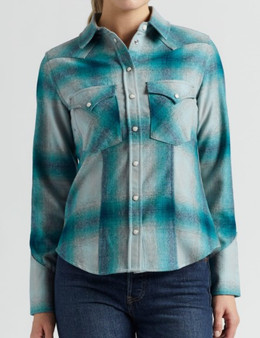 Pendleton Women's Canyon Shirt in Turquoise/Grey Ombre Plaid