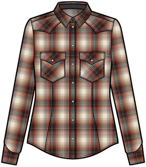 Pendleton Women's Canyon Shirt in Rust Ombre Plaid