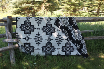 Pendleton Black And White Overall Pattern Long Twin Blanket
