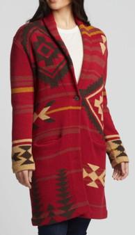Pendleton Women's Graphic Sweater Coat in Rosewood