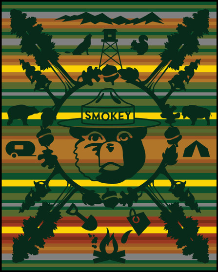 75th Anniversary of Smokey Bear Blanket woven by Pendleton Woolen Mills crib size