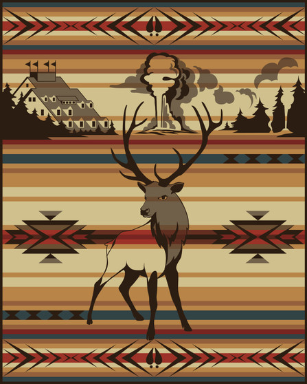 Animals of Yellowstone Series Elk Blanket woven by Pendleton Woolen Mills