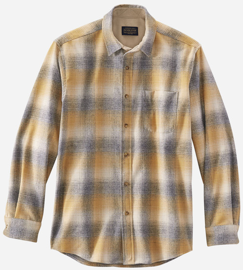 Pendleton Classic Fit Lodge Shirt in Tan Grey Gold Ombre Plaid