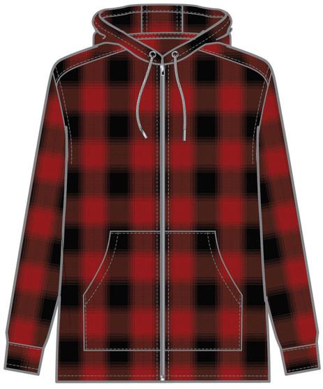 Pendleton Wool Zip Hoodie in Red Rock Buffalo Ombre Plaid