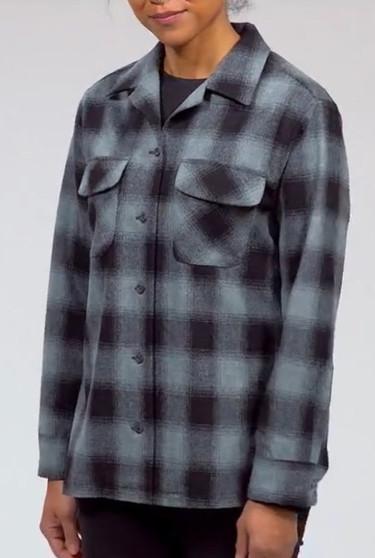 Pendleton Women's Boyfriend Board Shirt in Shale Mix Buffalo Ombre Plaid
