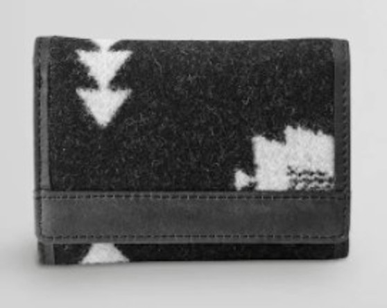 Pendleton Rock Point Black Trifold Wallet Wool and Leather