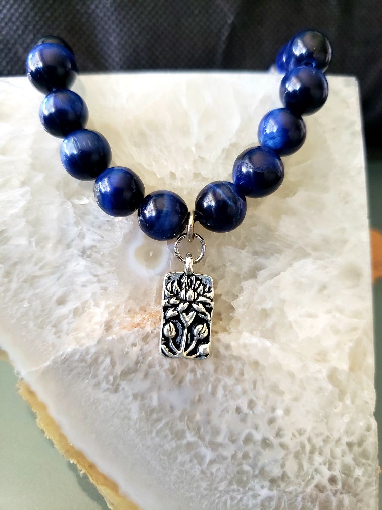 blue tiger eye with charm