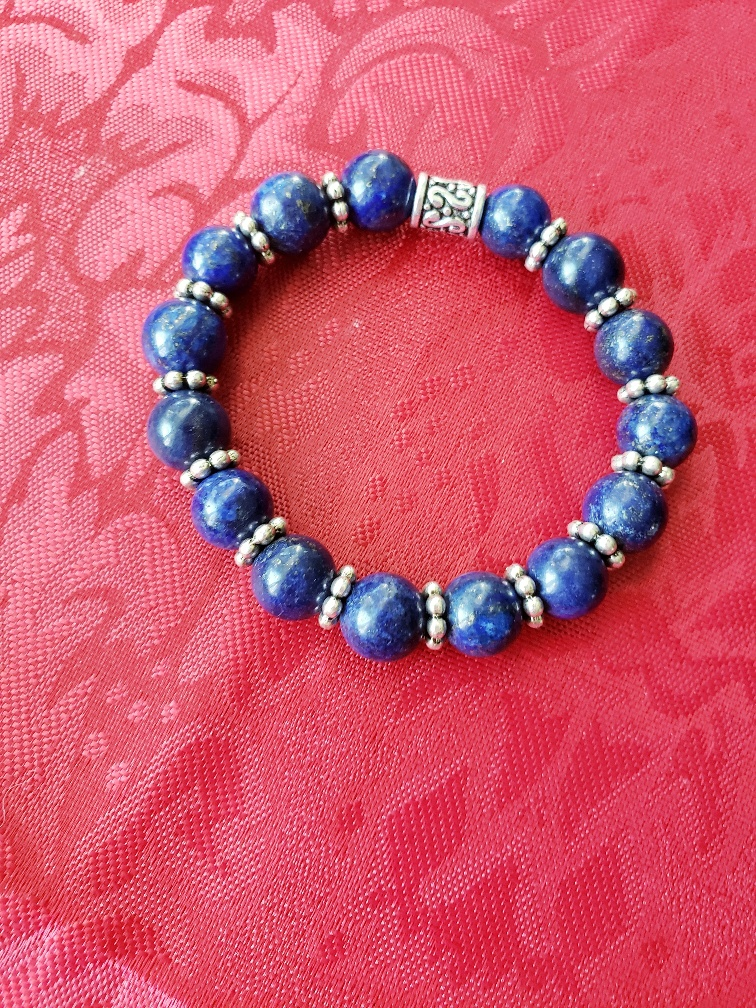 lapis and metal beads bracelet