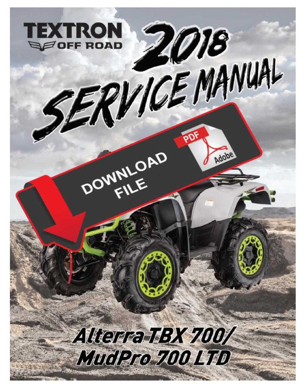 Arctic Cat / Textron 2018 Alterra TBX 700 Service ManualService Manual Warehouse