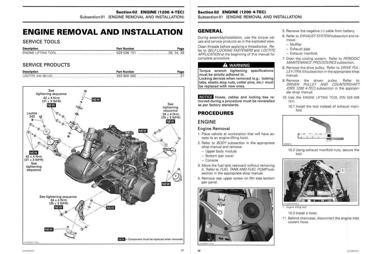 Ski-Doo 2016 REV-XU 1200 4-TEC Snowmobiles Service Manual