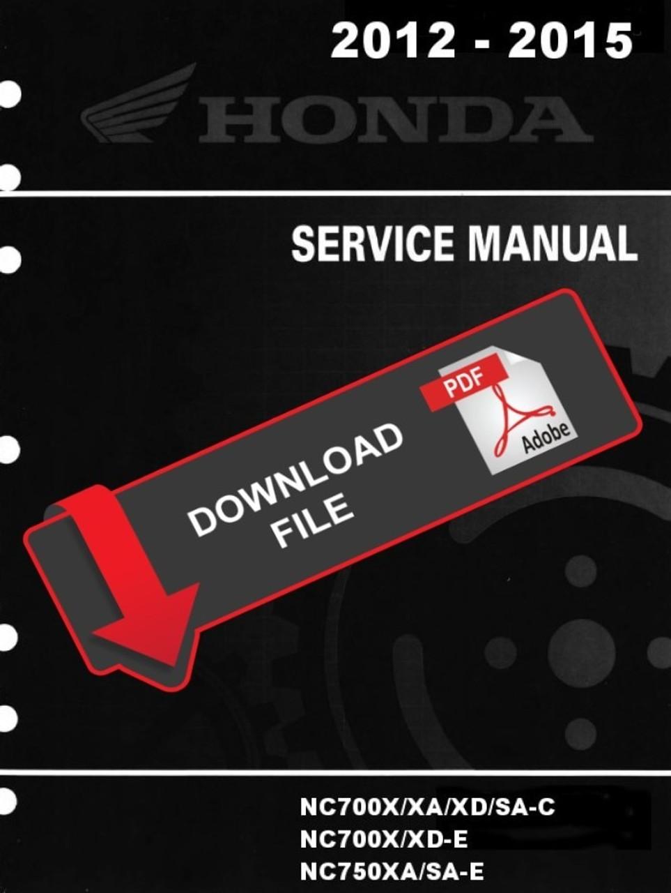 Honda 2014 Nc750x Motorcycles Service Manual
