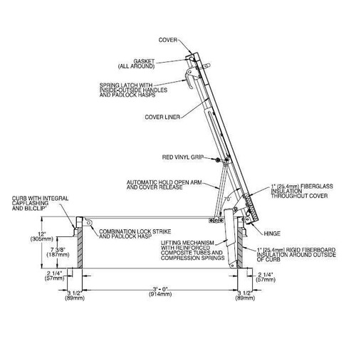 Bilco 36 x 36 Stainless Steel Ladder Access Roof Hatch - Bilco