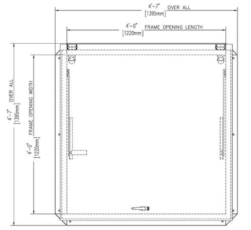 Bilco 48 x 48 Aluminum Cover with Galvanized Steel Equipment Access Roof Hatch - Bilco