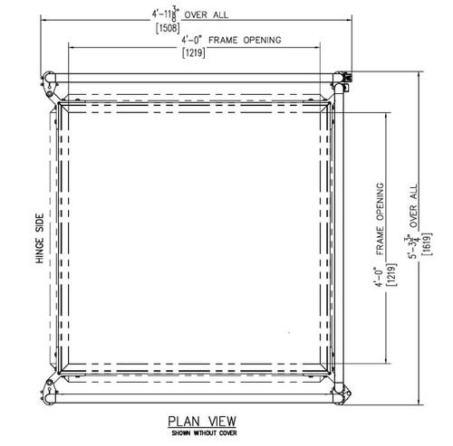 Bilco 48 x 48 Equipment Access Roof Hatch Safety Railing System - Bilco