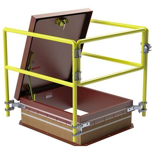Bilco 30 x 96 Service Stair Access Thermally Broken Roof Hatch Safety Railing System - Bilco