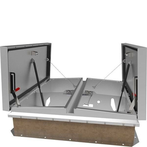 Babcock Davis 48 x 96 Aluminum Cover and Galvanized Steel Double Door SafeMAX Smoke Vent, Rooftop Close with Electrical Opening Mechanism