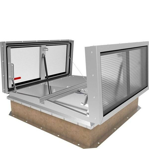 Babcock Davis 48 x 96 Aluminum Double Door LightMAX Smoke Vent, Polycarb Dome Rooftop Close with Electrical Opening Mechanism