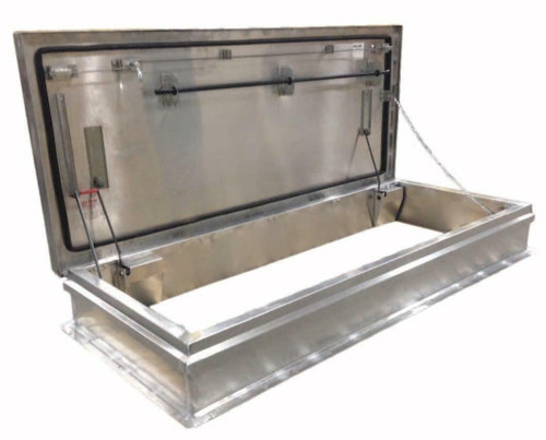 Milcor 30 x 96 Aluminum Cover with Galvanized Steel Single Leaf Hatch - 40 psf - Service Stair - Milcor