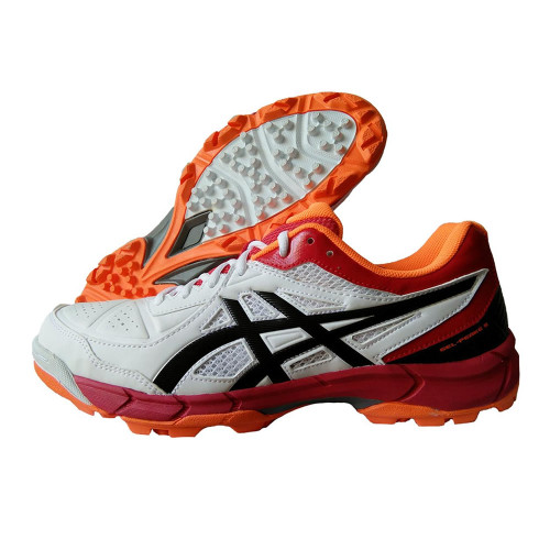 Asics Gel Peake 5 Cricket Shoes White , Black and Maroon
