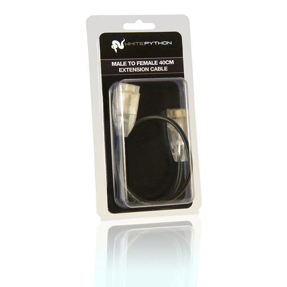 White Python LED Extension Cable - Male to Female 40cm