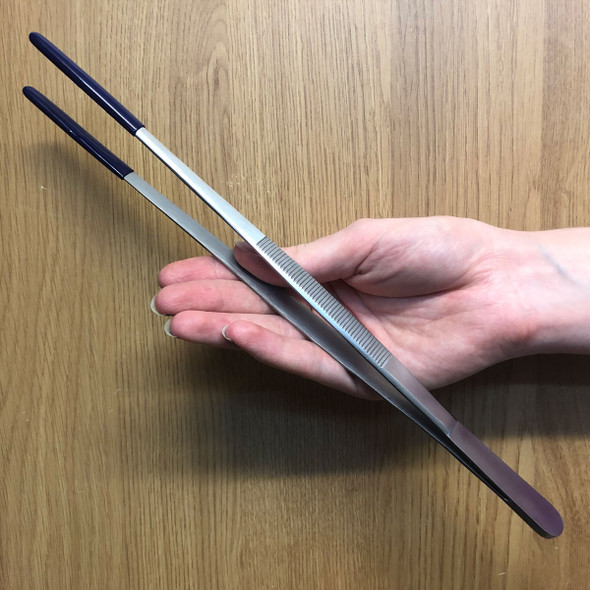 Stainless Steel Tweezers (30cm) with Rubber Tips