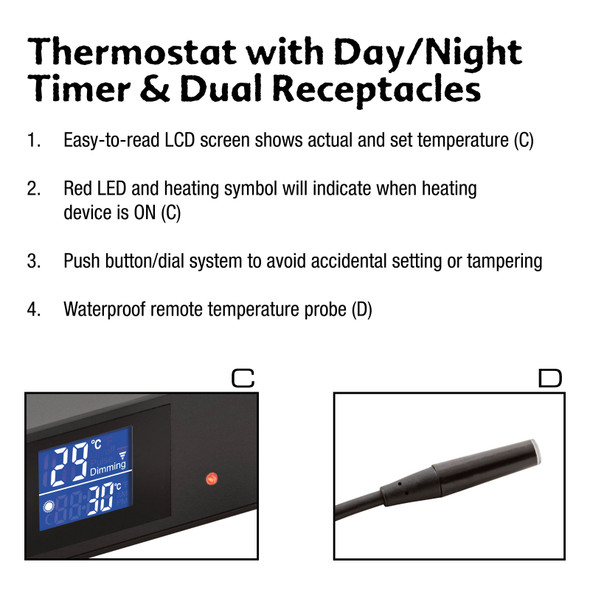 Exo Terra Thermostat 600w with Dual Receptacles, PT2463