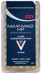 CCI .22 Winchester Magnum Rimfire 40 Grain Jacketed Hollow Point Maxi-Mag Ammunition