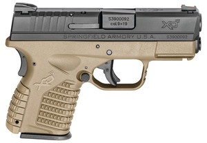 SAI XDS 3.3 Single Stack 9mm 3.3 Inch Barrel Melonite Finish Flat Dark Earth Polymer Frame One 7 Round and One 8 Round Magazine