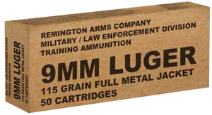 Remington Ammunition B9MM3 Overrun  9mm Luger 115 GR Full Metal Jacket (FMJ) 50 Bx/ 10 Cs