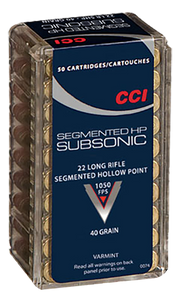 CCI 0074 22LR Subsonic Copper-Plated Segmented HP 40GR 2,500 rounds free shipping (50 Boxes of 50 RDS)