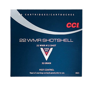 CCI 0025 Low Noise/Training/Specialty 22 WinMag #12 Shot 52GR -1,000 RDS TOTAL (20 Rounds per box, 50 boxes)