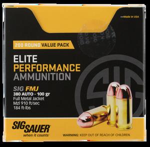 Sig Sauer E380B1200 Elite Ball  380 ACP 100 GR Full Metal Jacket (FMJ) 200 Bx/ 5 Cs