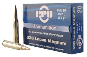 PPU PP338F Standard Rifle  338 Lapua Mag 250 GR Full Metal Jacket (FMJ) 10 Bx/ 20 Cs