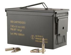 PPU PPN762MC Mil-Spec  7.62x51mm NATO 145 GR Full Metal Jacket Boat Tail (FMJBT) 500 Can