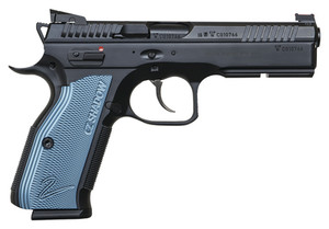 CZ 75 Shadow 2 Black 9mm 5.4 Inch 17 Rds w Blue Grips, 91257, 806703912578