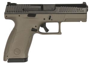 CZ 91521 P-10 Single/Double 9mm 4 12+1 Flat Dark Earth  Interchangeable Backstrap Grip Black Nitride