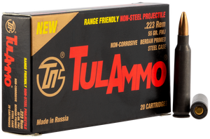 Tulammo TA223556 Rifle  223 Rem/5.56 NATO 55 GR Full Metal Jacket (FMJ) 20 Bx/ 50 Cs