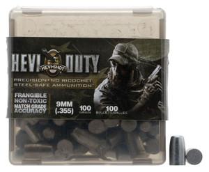 Hevishot 90019 Hevi-Duty  9mm 100 GR Non-Tox Frangible 100 Box/ 10 Case