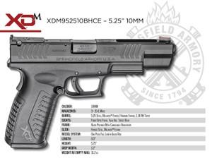 Springfield Armory XDM952510BHC XD(M) Full Size 10mm Auto Double 5.25 15+1 Black Interchangeable Backstrap Black Polymer Frame Black Melonite Slide