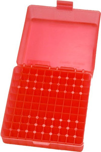 MTM 100 ROUND .17HMR/.22MAG AMMO BOX SEE THROUGH CLEAR RED