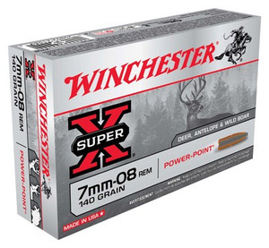 WIN AMMO SUPER-X 7MM-08 REM. 140GR. POWER POINT 20-PACK