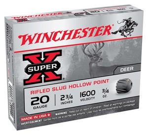 WIN AMMO SUPER-X SLUGS 20GA. 2.75 1600FPS. 3/4OZ. 5-PACK