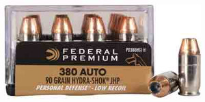 FED AMMO PREMIUM .380ACP 90GR. HYDRA-SHOK JHP 20-PACK