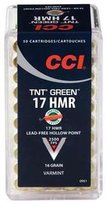 CCI AMMO GREEN LEAD FREE 17HMR 2500FPS. 16GR. TNT-HP 50-PACK