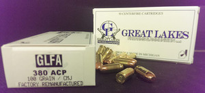 GREAT LAKES AMMO .380ACP 100GR. FMJ 50-PACK