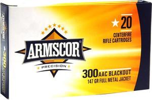 ARMSCOR AMMO .300AAC BLACKOUT 147GR. FMJ 20RD BOX