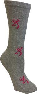 BG LADIES HEARTLAND CREW SOCKS MED GREY & PINK BUCKMARK